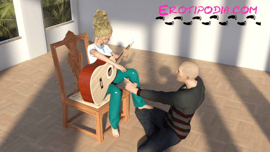 Girl in chair using man as footrest