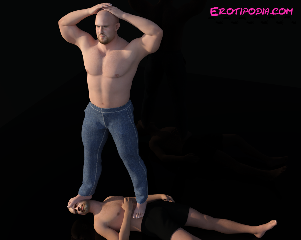 shirtless man in jeans standing barefoot on a shirtless man in shorts
