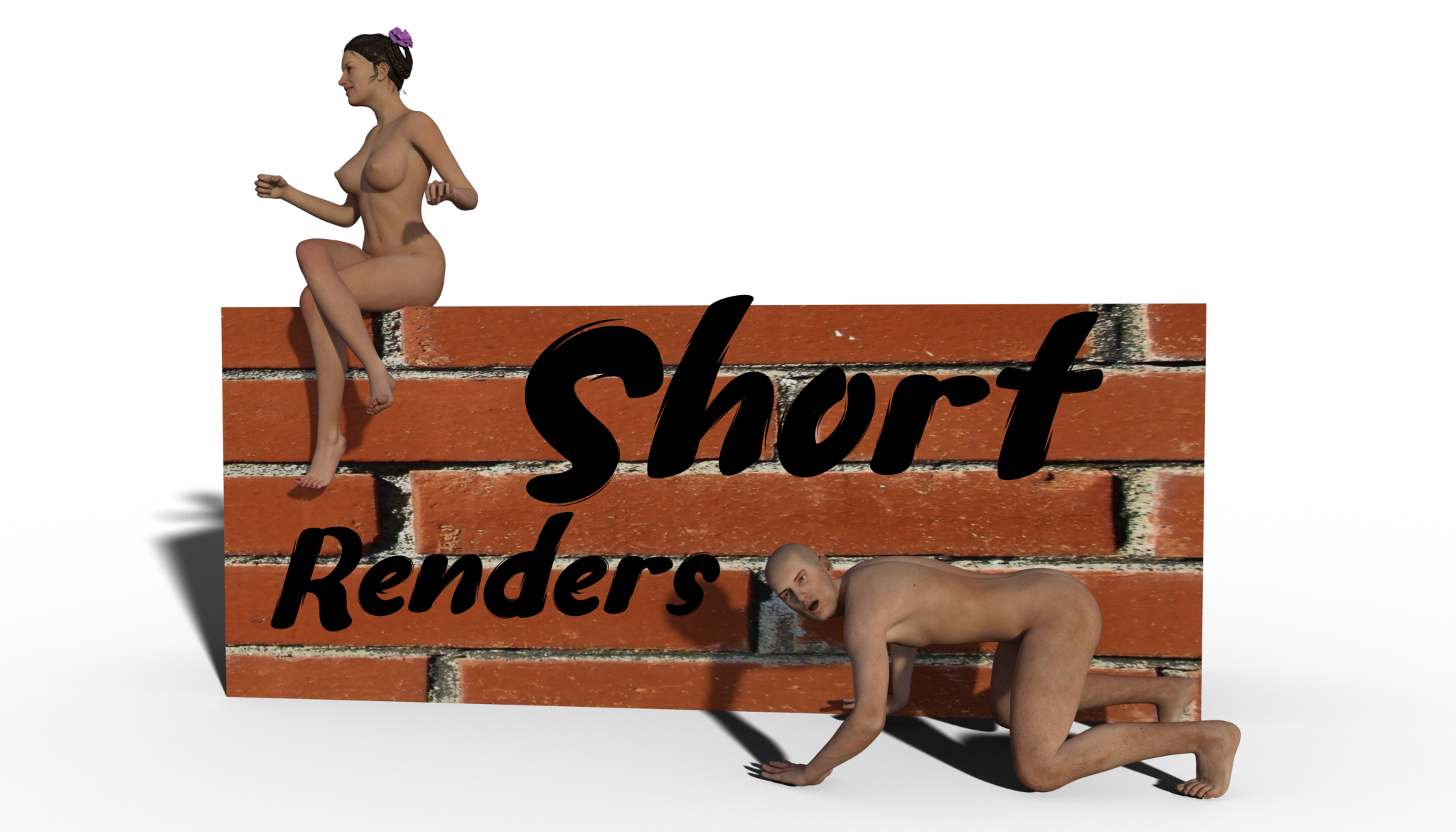 Naked woman sitting on brick wall, naked man on all fours