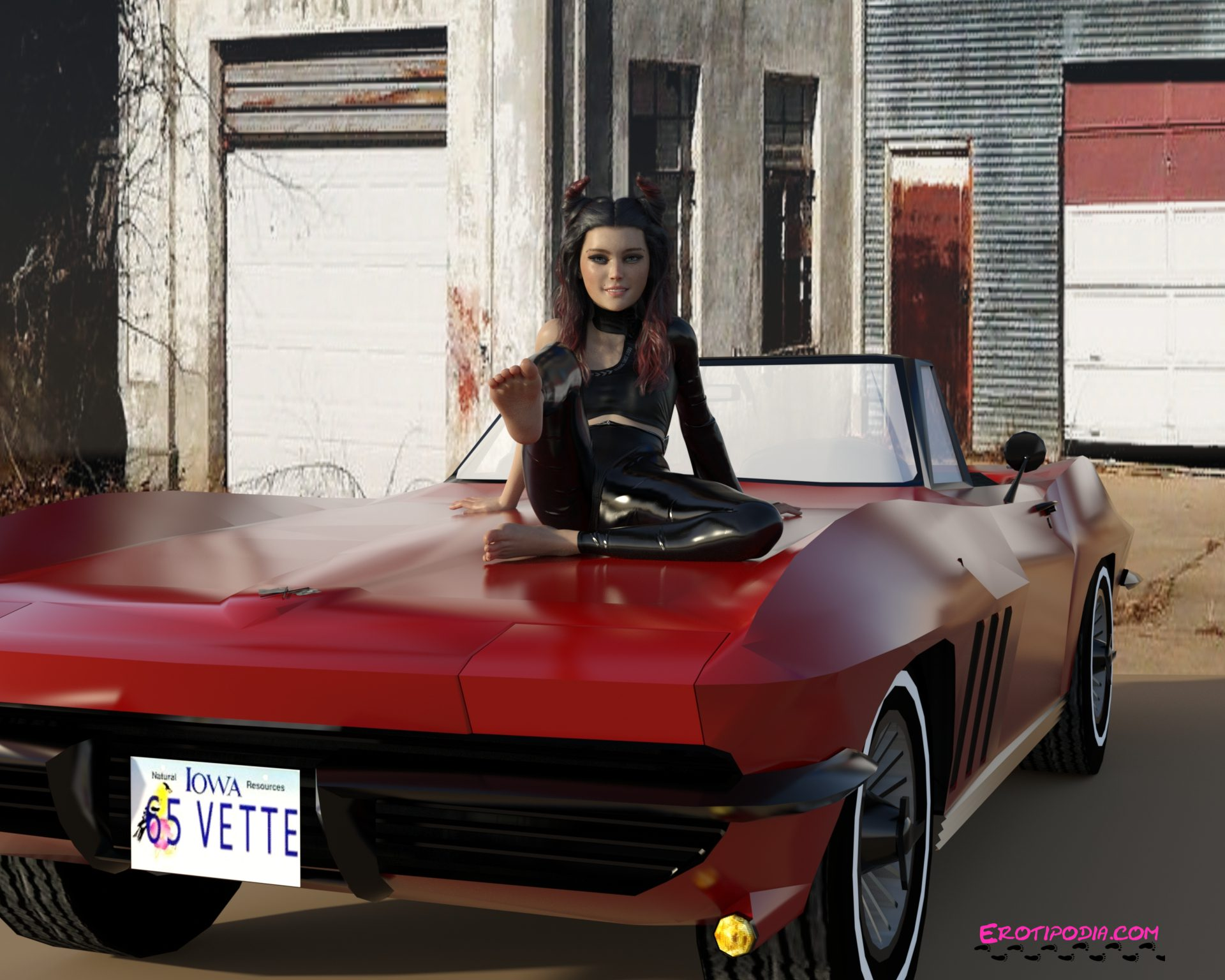 Barefoot girl sitting on the hood of a classic corvette